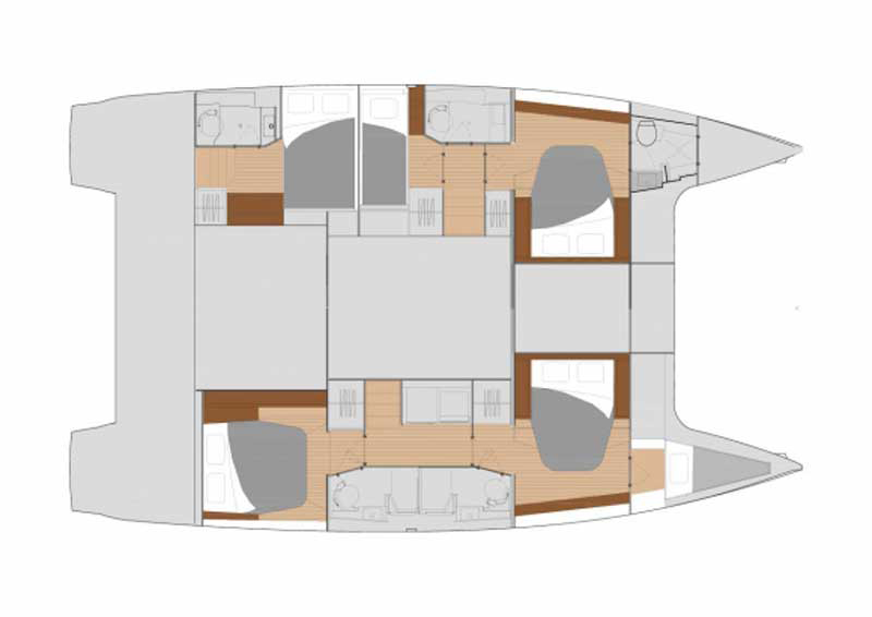 Fountaine Pajot New 47 Grundriss Kabinenplan