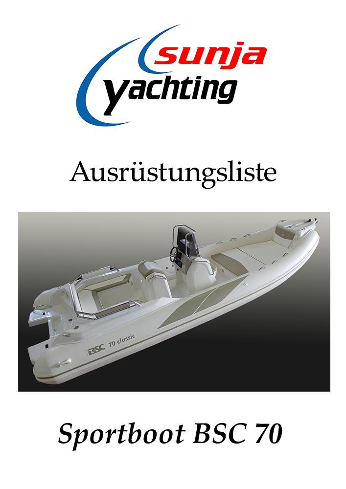 Ausrüstungsliste BSC 70 Schlauchboot