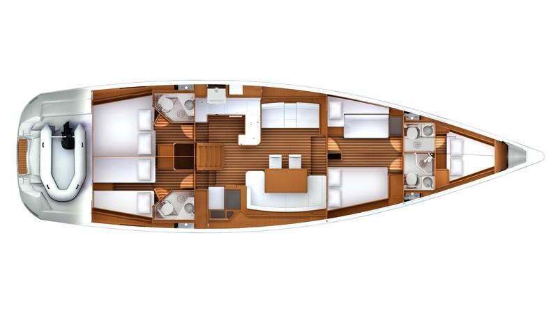 Jeanneau 57 Riss / Deckplan