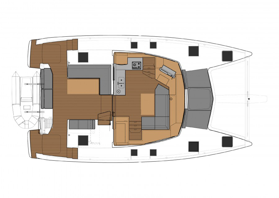 Fountaine Pajot Lucia 40 Riss Hauptdeck