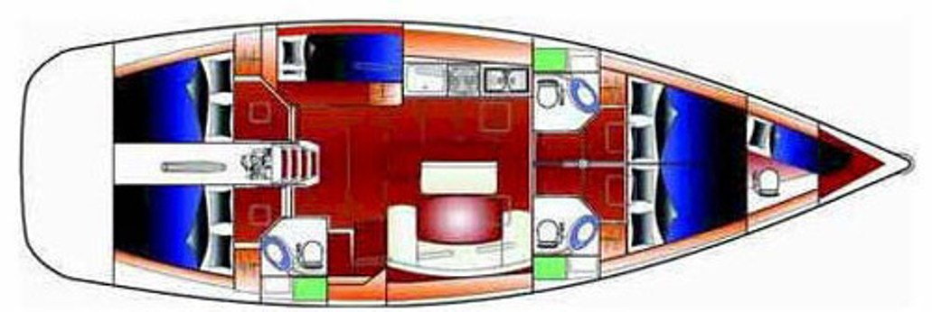 Beneteau Cyclades 50.4 Deckplan