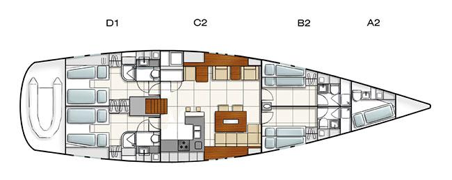 Hanse 630 Deckplan