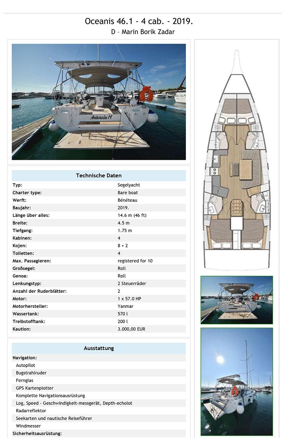 Ausrüstungsliste Beneteau Oceanis 46 Antonela M