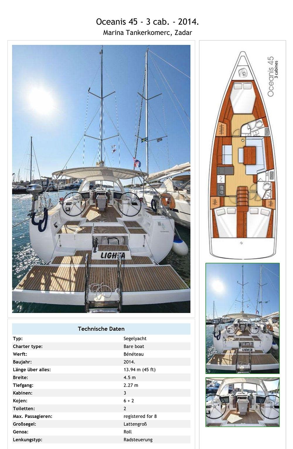 Beneteau Oceanis 45 Lighea Ausrüstungsliste